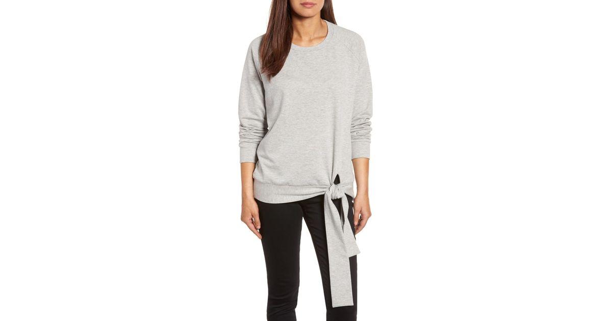e2f500109 Caslon Tie Knot Sweatshirt (regular & Petite) in Gray - Lyst