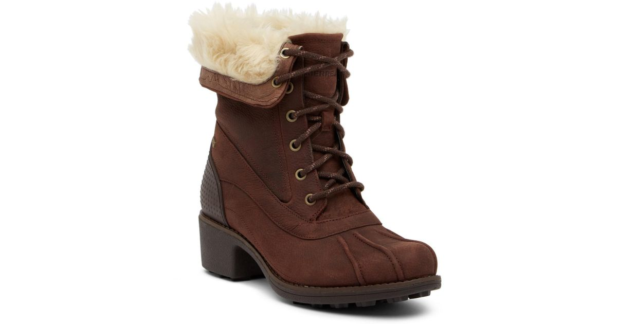 54a57f8b1df Lyst - Merrell Chateau Mid Lace Faux Fur Trimmed Waterproof Boot in Brown