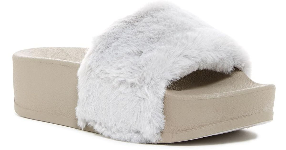 Catherine Catherine Malandrino Pinkur Faux Fur Slide Sandal Kc0DEussu