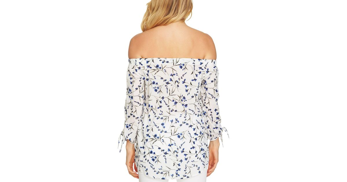 7f76c4fd71dcb Lyst - Cece By Cynthia Steffe Graceful Floral Off The Shoulder Top in Blue