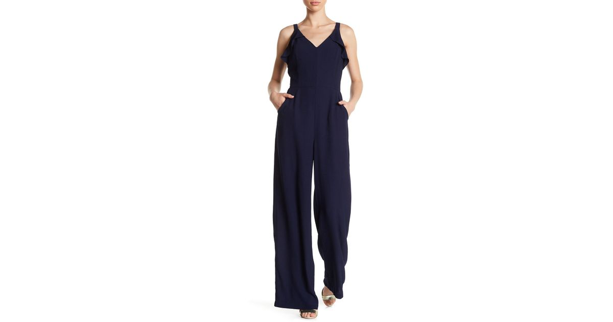 85c0d33fc9c3 Adelyn Rae - Blue Sleeveless Ruffle Trim Jumpsuit - Lyst