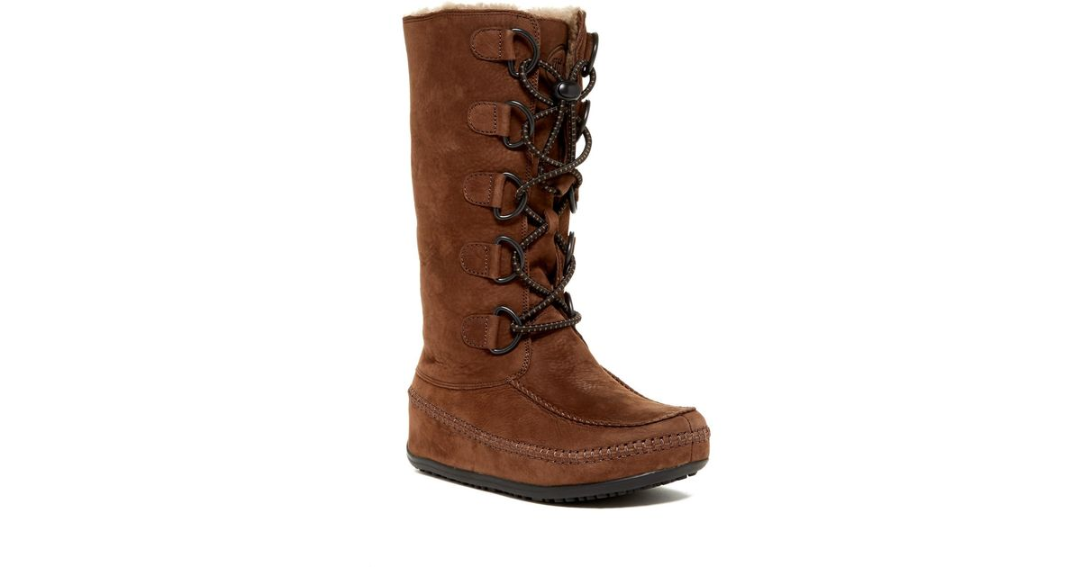 ad9009054ec Lyst - Fitflop Mukluk Genuine Shearling Lined Tall Boot in Brown
