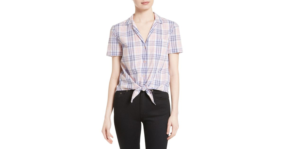 Sale Best Store To Get Equipment Woman Keira Tie-front Checked Cotton-broadcloth Shirt Pastel Pink Size M Equipment Inexpensive Cheap Price 4XabOD