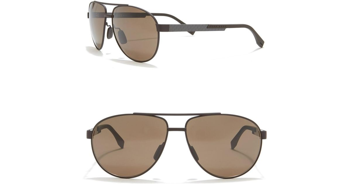 9114ee3d5d3e BOSS 63mm Classic Aviator Sunglasses for Men - Lyst
