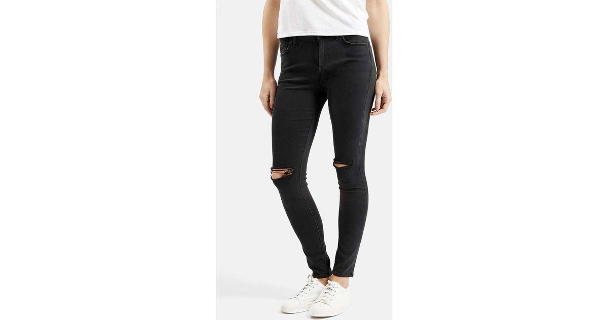 8471b3706eb TOPSHOP Moto 'leigh' Ripped Skinny Jeans in Black - Lyst