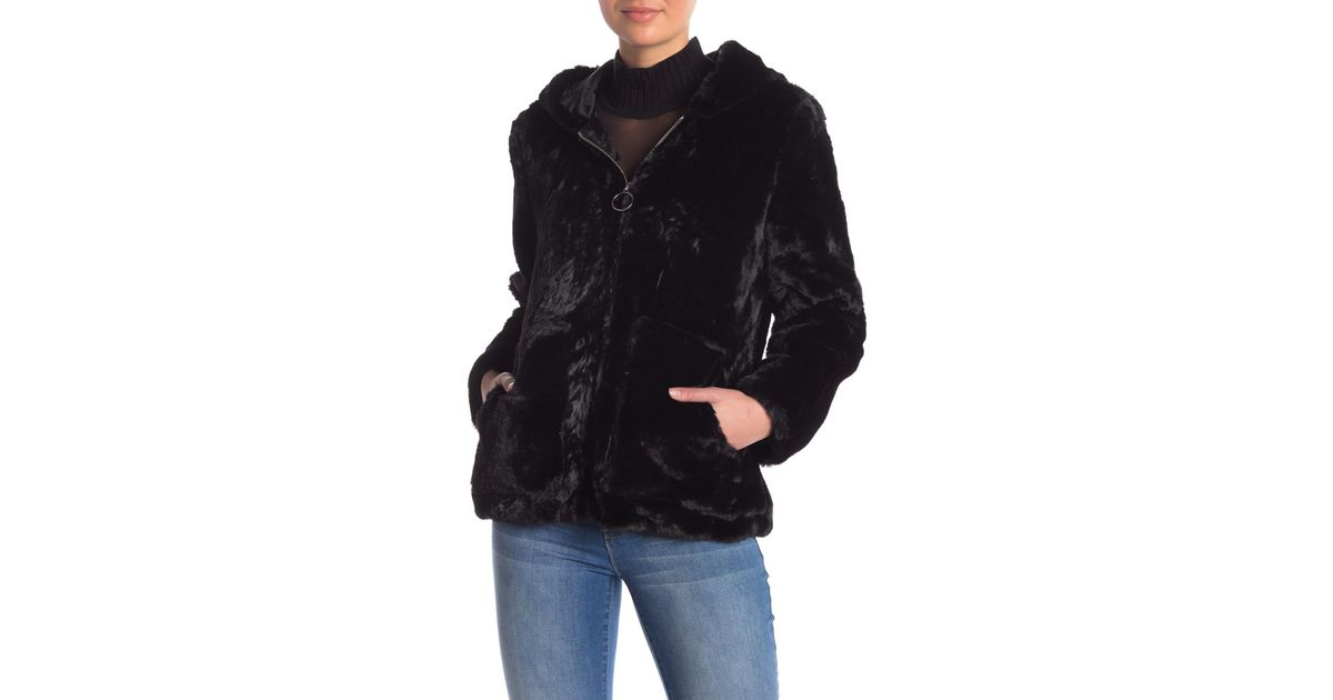 404496c2ef5 Lyst - Vigoss O-ring Faux Fur Jacket in Black
