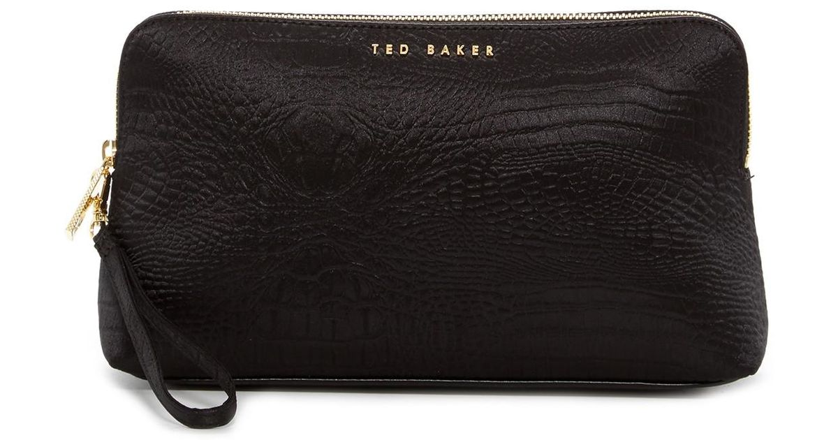 a3b782b9d7 Lyst - Ted Baker Loulou Exotic Croc Embossed Nylon Wash Bag in Black