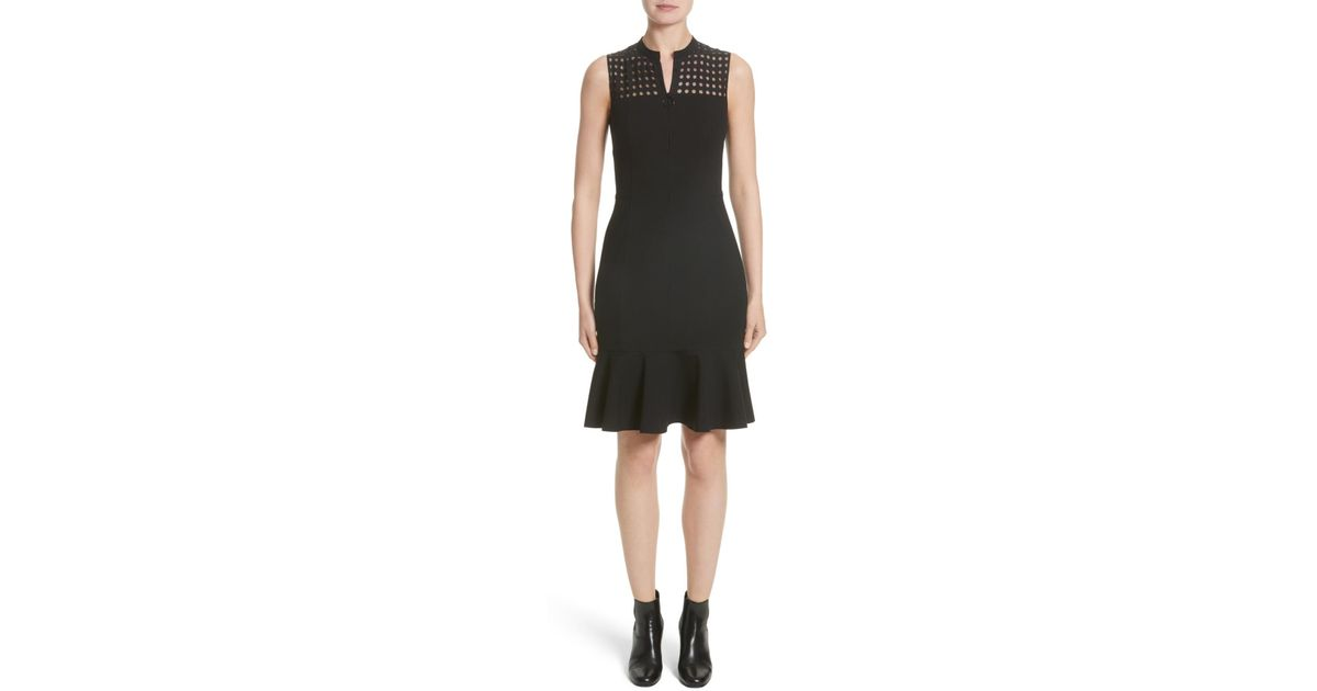 Lyst Akris Punto Lace Yoke Jersey Dress Nordstrom Exclusive In Black