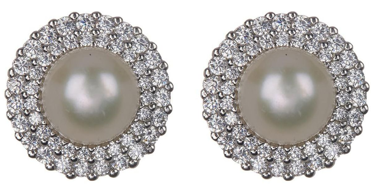 93e545dc6 Splendid Sterling Silver Cz Double Halo 8-9mm Cultured Freshwater Pearl  Stud Earrings - Lyst