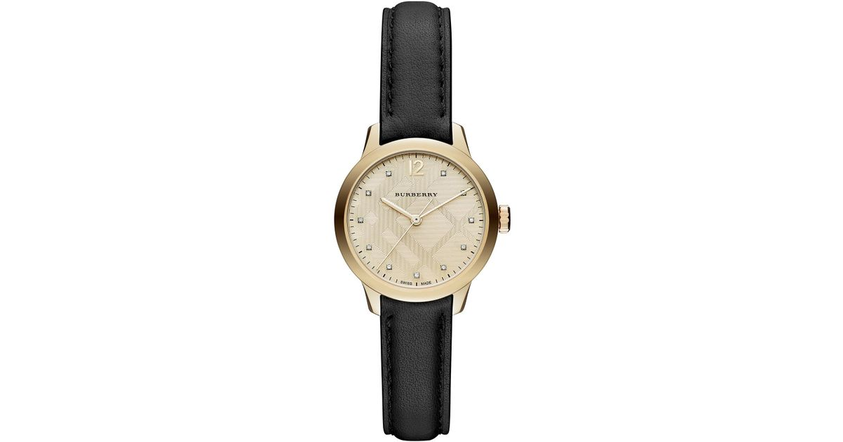 ff80c9a65ad Lyst - Burberry Women s Diamond Leather Band Watch - 0.4 Ctw