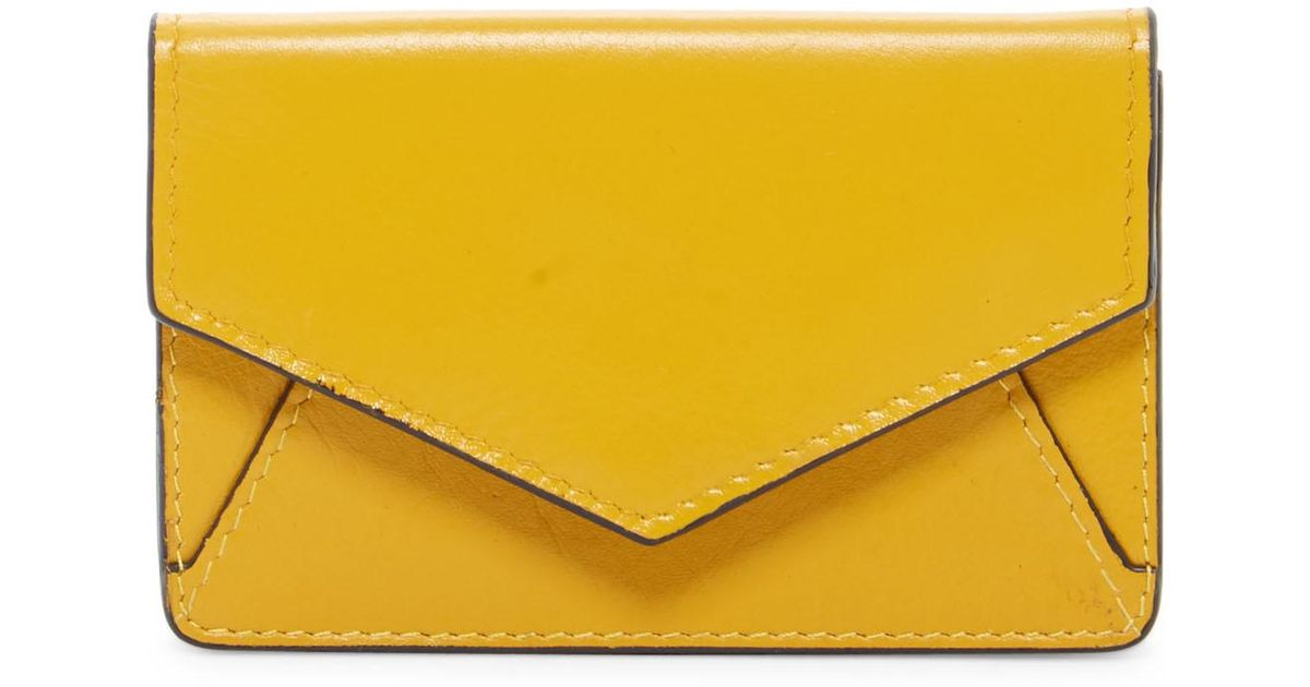 Lyst ili leather envelope business card holder in yellow reheart