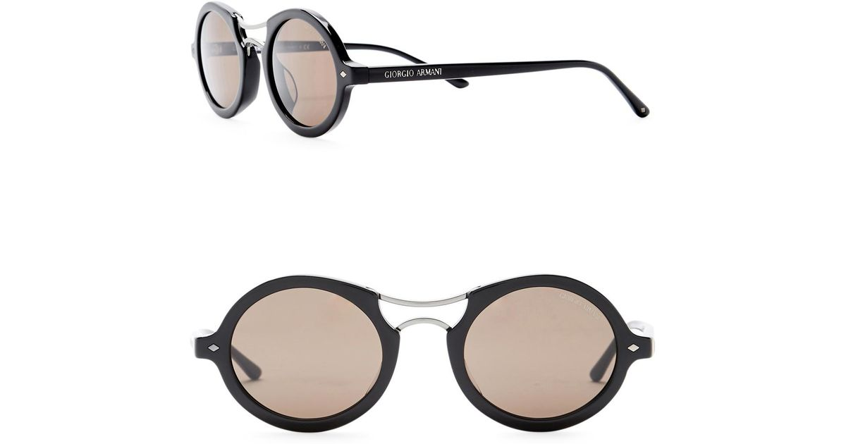 5e3ccdfda05 Lyst - Giorgio Armani Round 48mm Acetate Frame Sunglasses in Black