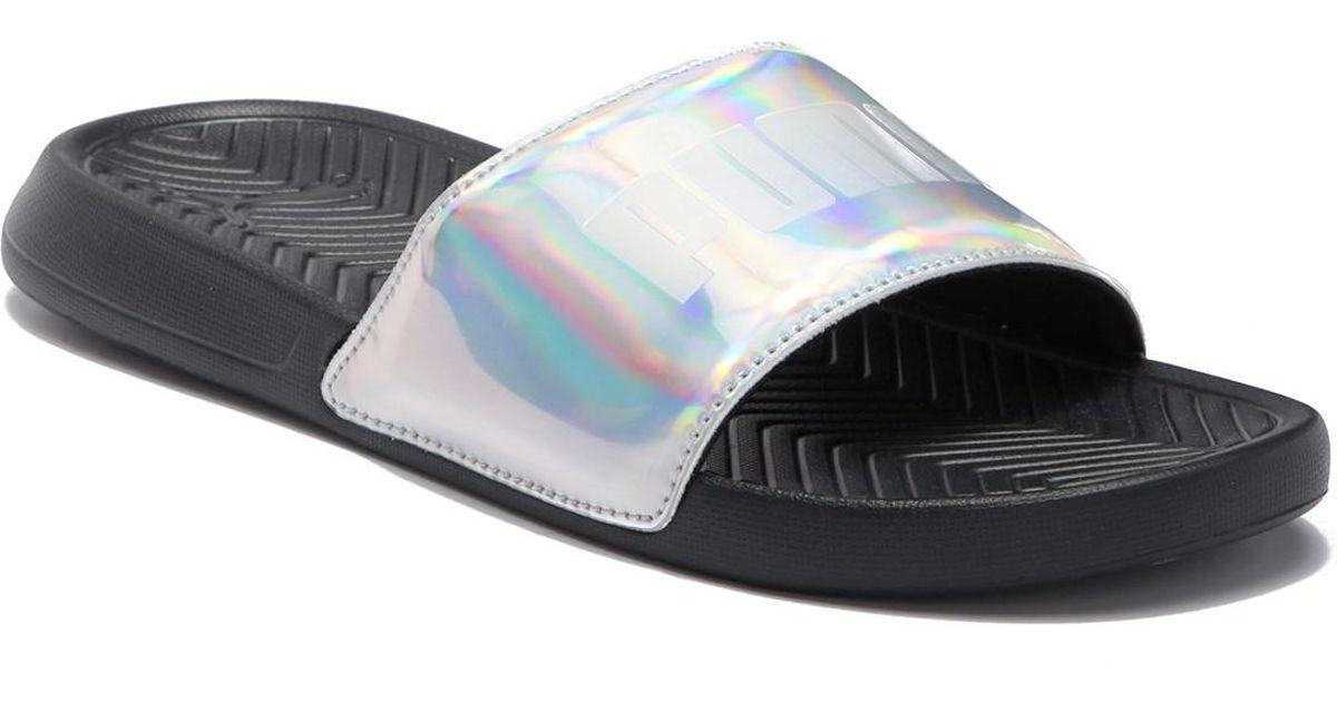 0db0bbdb3f9 Lyst - PUMA Popcat Chrome Slide Sandal in Black