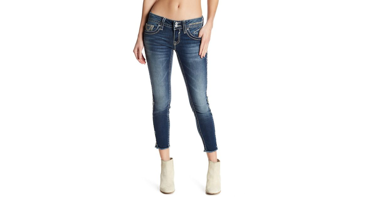 Lyst Vigoss Topstitch Embroidered Skinny Jeans In Blue