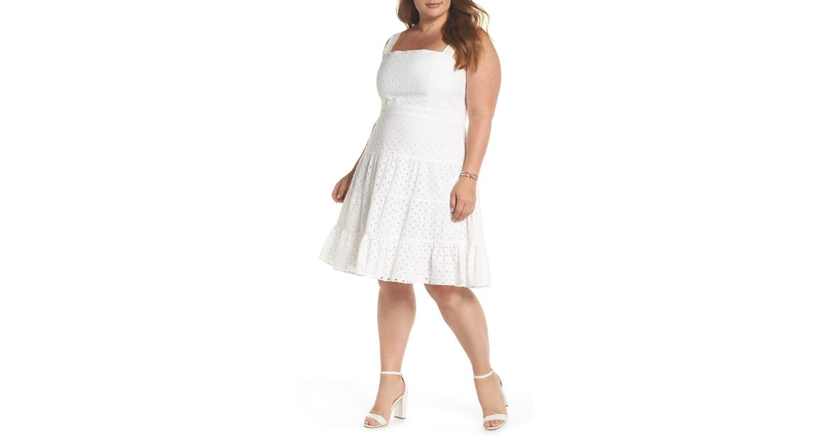 00fc4a0b1cd 1901 Eyelet Fit   Flare Dress (plus Size) in White - Lyst