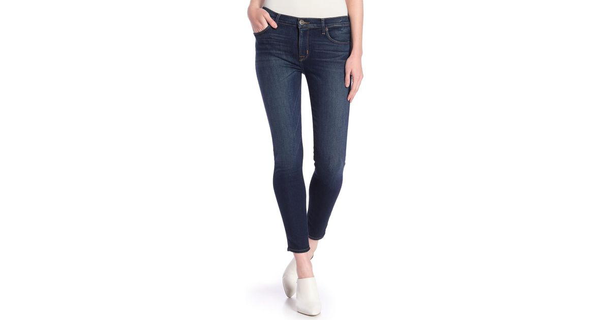 204f8e82285d6 Lyst - Hudson Jeans Natalie Mid Rise Ankle Super Skinny Jeans in Blue