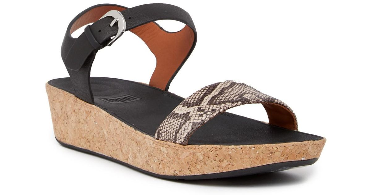 ab7208c08 Lyst - Fitflop Bon Ii Snake Print Leather Back Strap Sandal in Black
