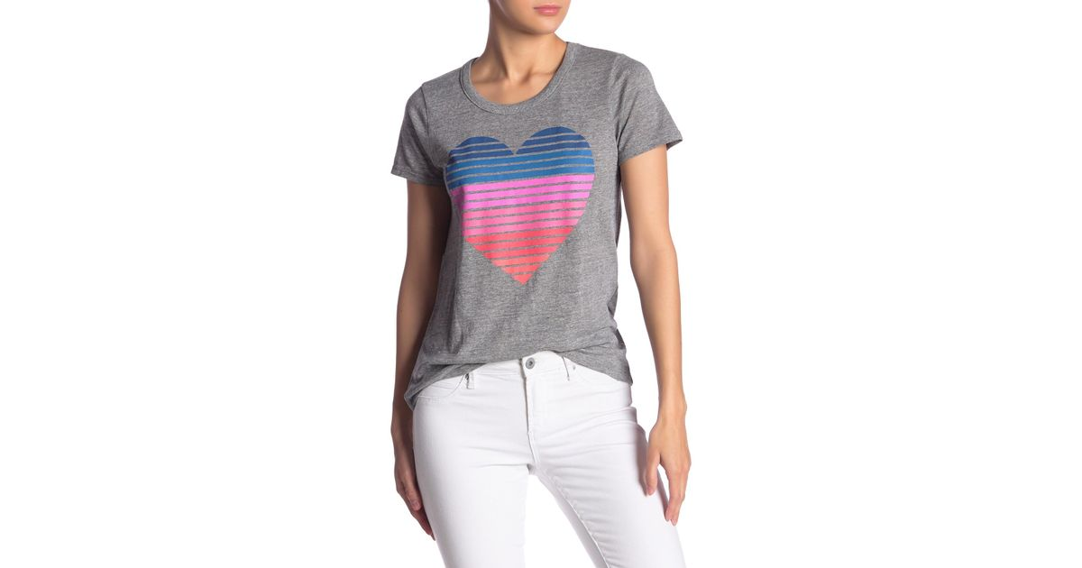 500d49a2b Lyst - Chaser Striped Heart Graphic Open Back Tee in Gray