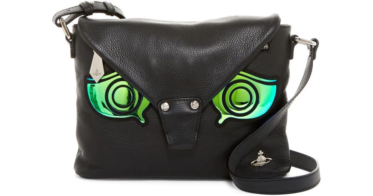 651e31262a Vivienne Westwood Greek Eye Leather Crossbody Bag in Black - Lyst