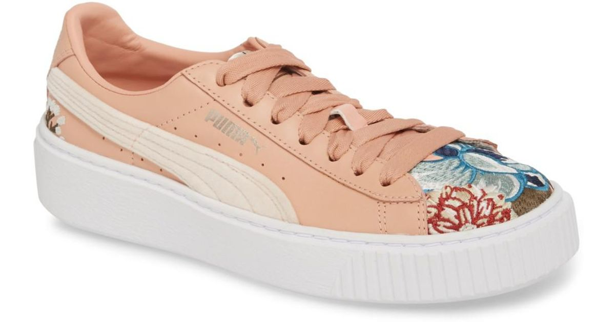 65e26a5992a Lyst - PUMA Platform Hyper Embroidered Leather Sneaker