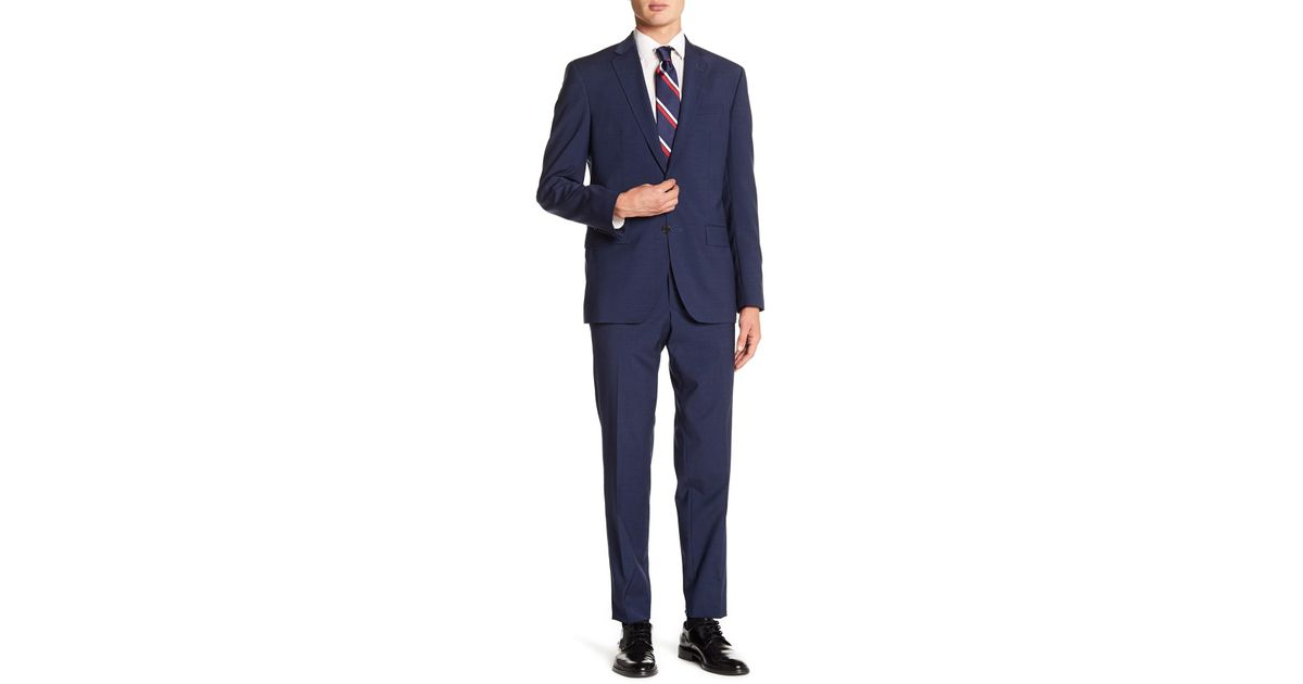 72398a597ed57d Lyst - Ted Baker Jay Blue Windowpane Two Button Notch Lapel Wool Trim Fit  Suit in Blue for Men