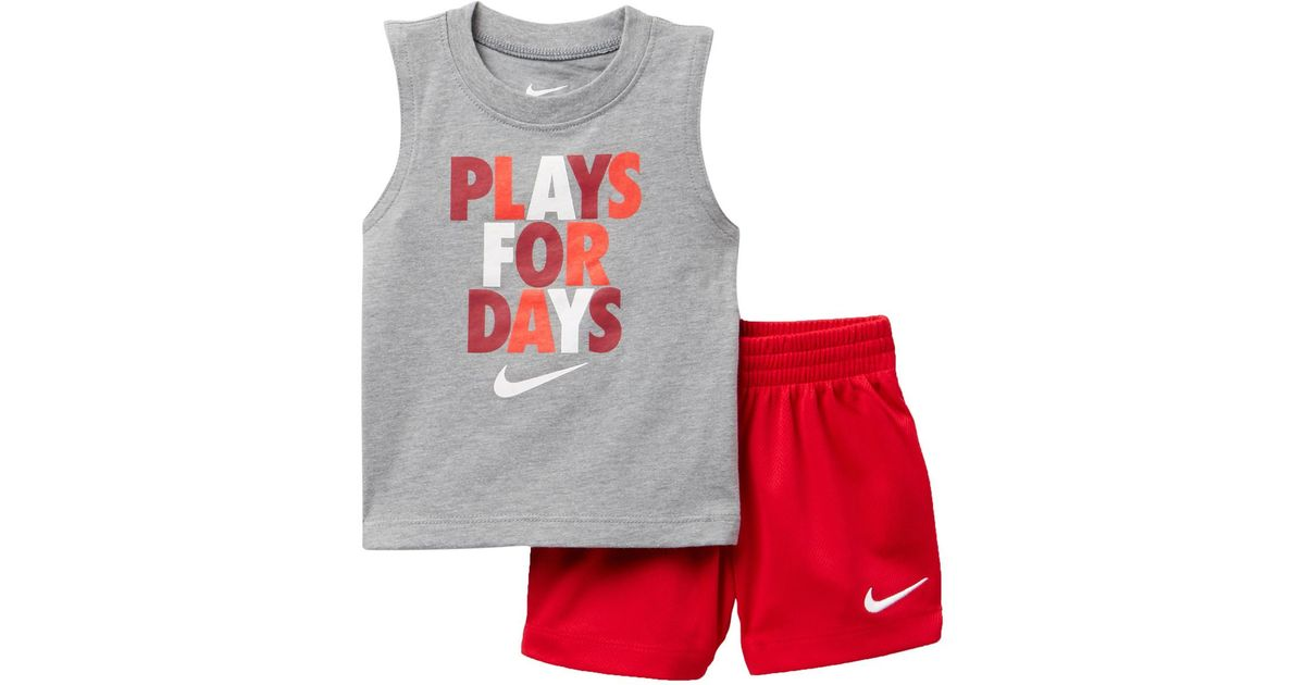Lyst - Nike Plays 4 Days Muscle Tee   Shorts Set - 2 Piece (baby Boys) in  Red for Men 933e5db65