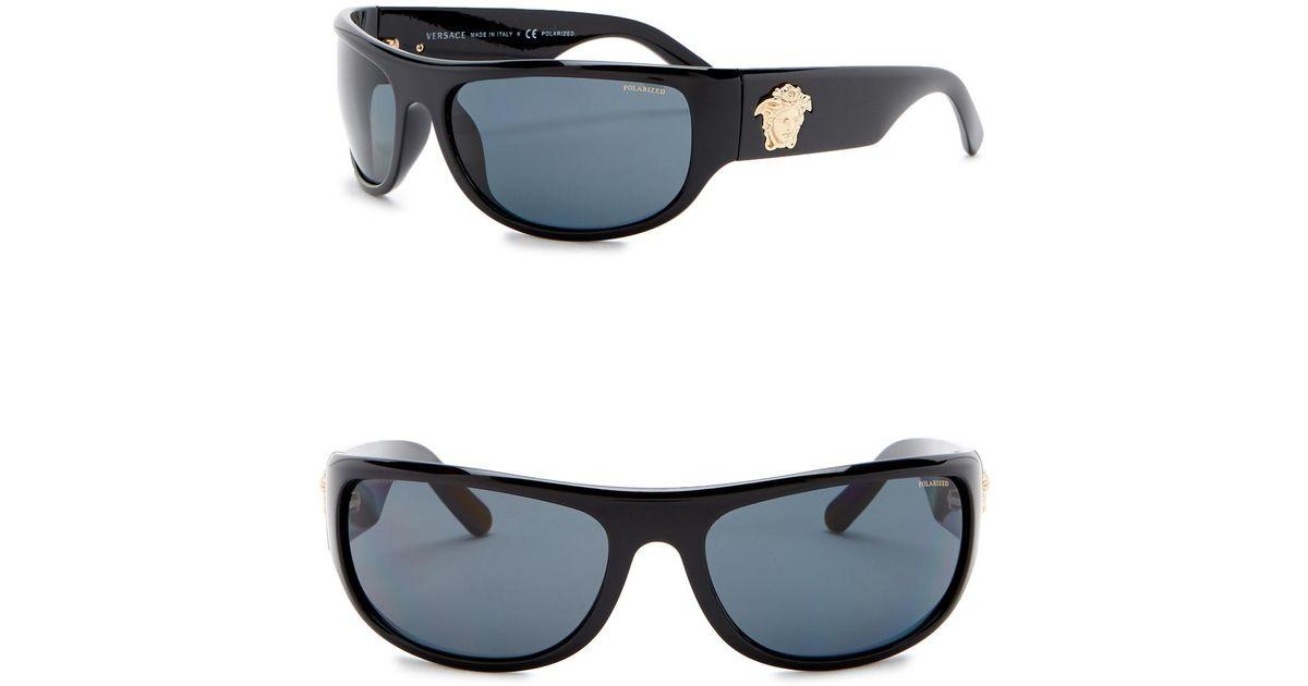 851e5de07bcd Lyst - Versace Rock Icons 63mm Rectangle Sunglasses in Black for Men