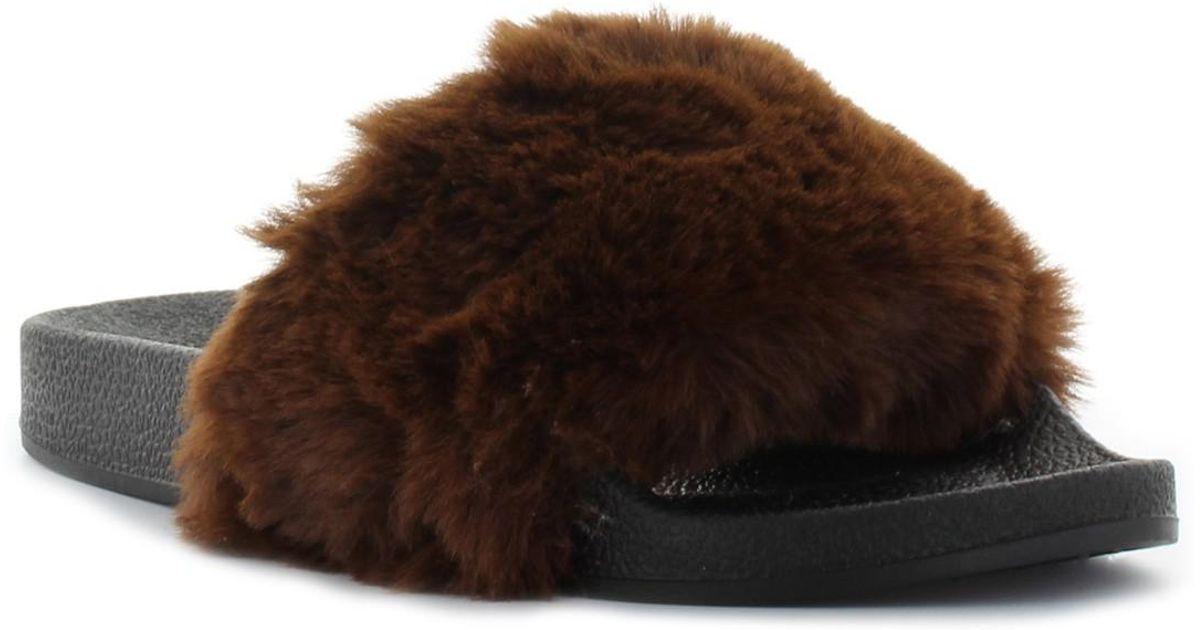 thermofolie fur pool lyst seven7 davinci faux fur pool slide sandal in brown