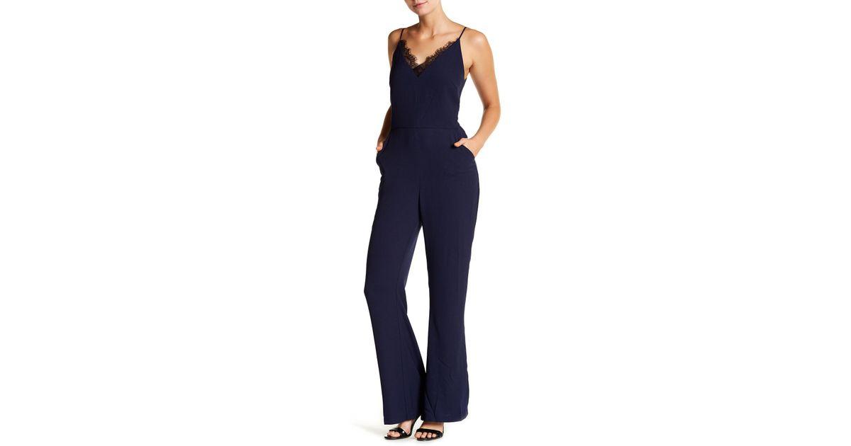 923debfaf4f3 Adelyn Rae - Blue Woven Slip-style Jumpsuit - Lyst