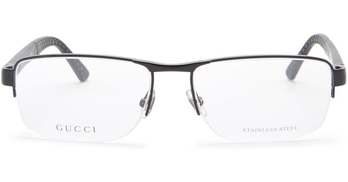 7f07c6ece6a Gucci Men s Semi-rimless Optical Frames in Black - Lyst