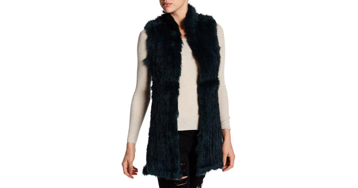 530f06961 Lyst - Love Token Givlia Genuine Dyed Rabbit Fur Vest in Black
