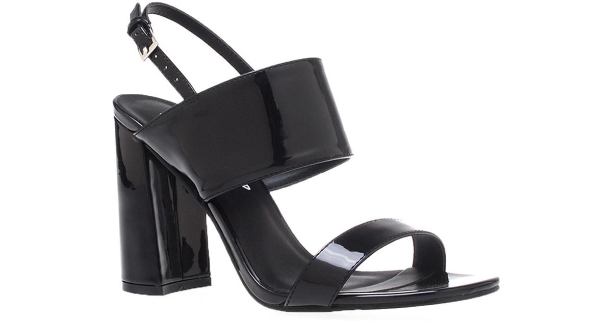 fa9e30b4cb78 Lyst - Privileged Emony Faux Patent Leather Block Heel Sandal in Black