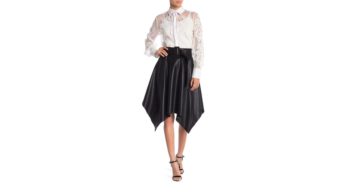 fd581e9073 Gracia Faux Leather Midi Skirt in Black - Lyst