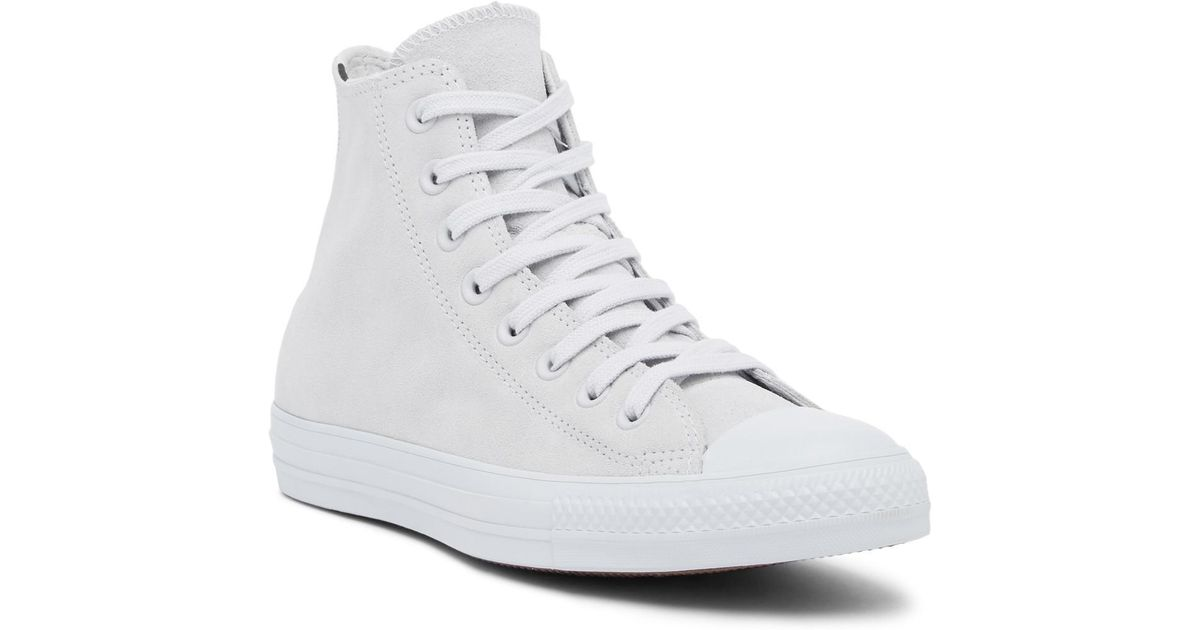 a3eb0eb705311f Lyst - Converse Chuck Taylor All Star Leather High Top Sneaker (women) in  White - Save 11%