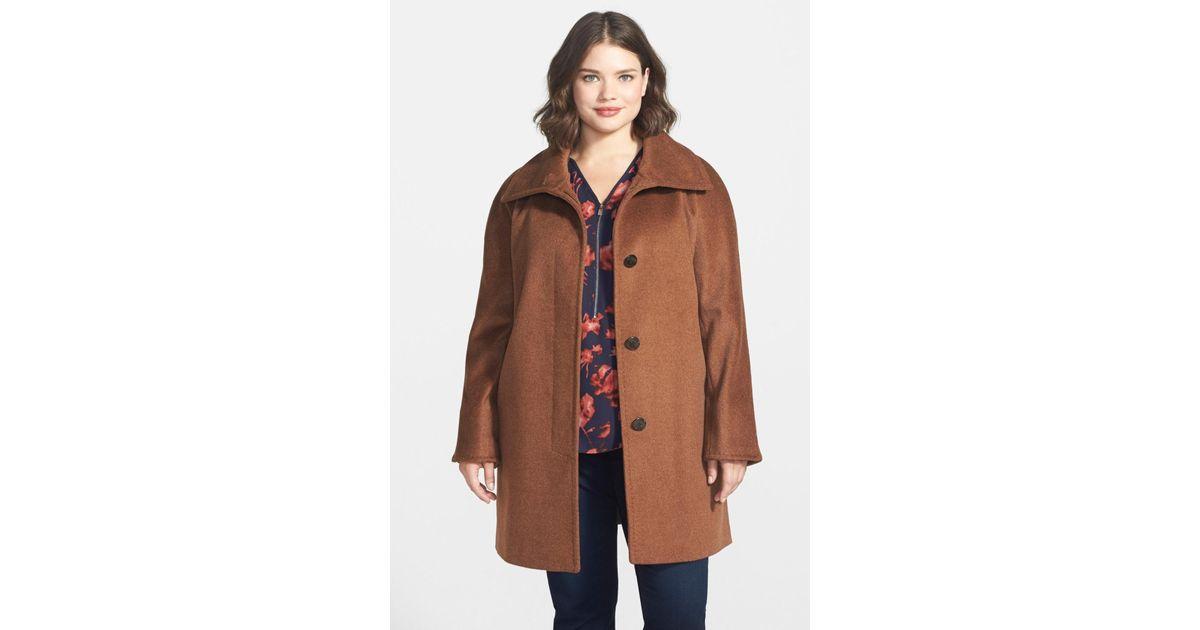 c8185033c24 Lyst - Ellen Tracy Fly Front Wool Blend Topper (plus Size) in Brown
