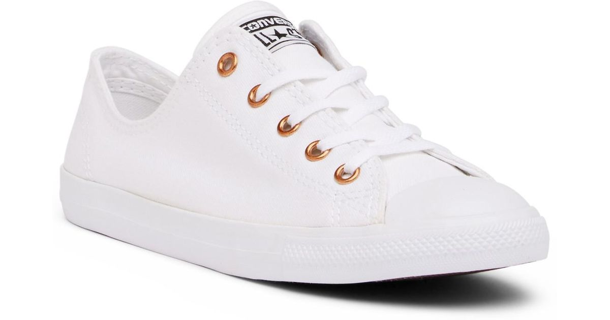 d5a809571f8d26 ... best price lyst converse chuck taylor all star dainty white oxford  sneaker women in white 95639