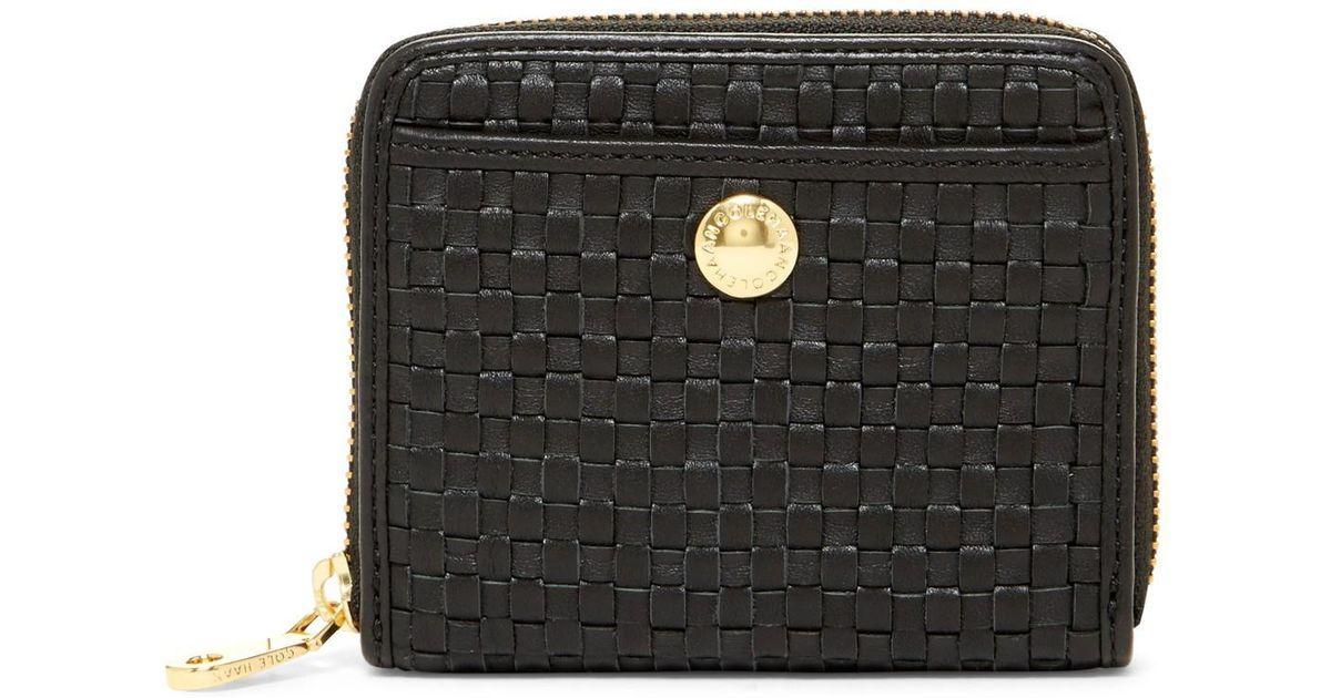 23fb04a17d3 Cole Haan Benson Ii Woven Leather Zip Around Wallet in Black - Lyst