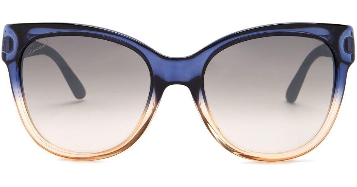 6965b554174 Lyst - Gucci Women s Cat Eye 55mm Acetate Frame Sunglasses in Blue