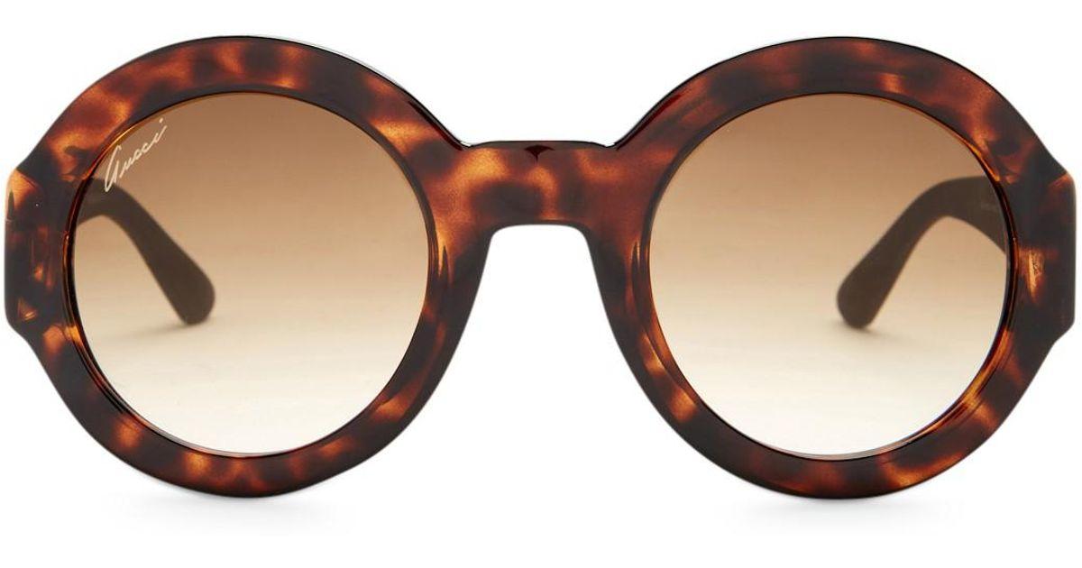 9cd91fc24b2 Lyst - Gucci 49mm Retro Round Sunglasses in Brown