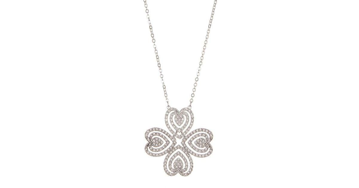 Lyst swarovski carol crystal heart clover pendant necklace in metallic aloadofball Image collections