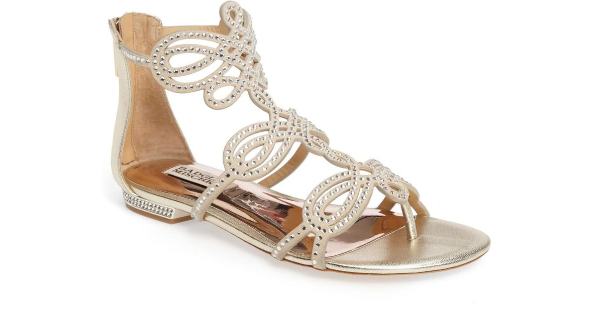 02e8dde14100 Lyst - Badgley Mischka Tempe Embellished Suede Sandal