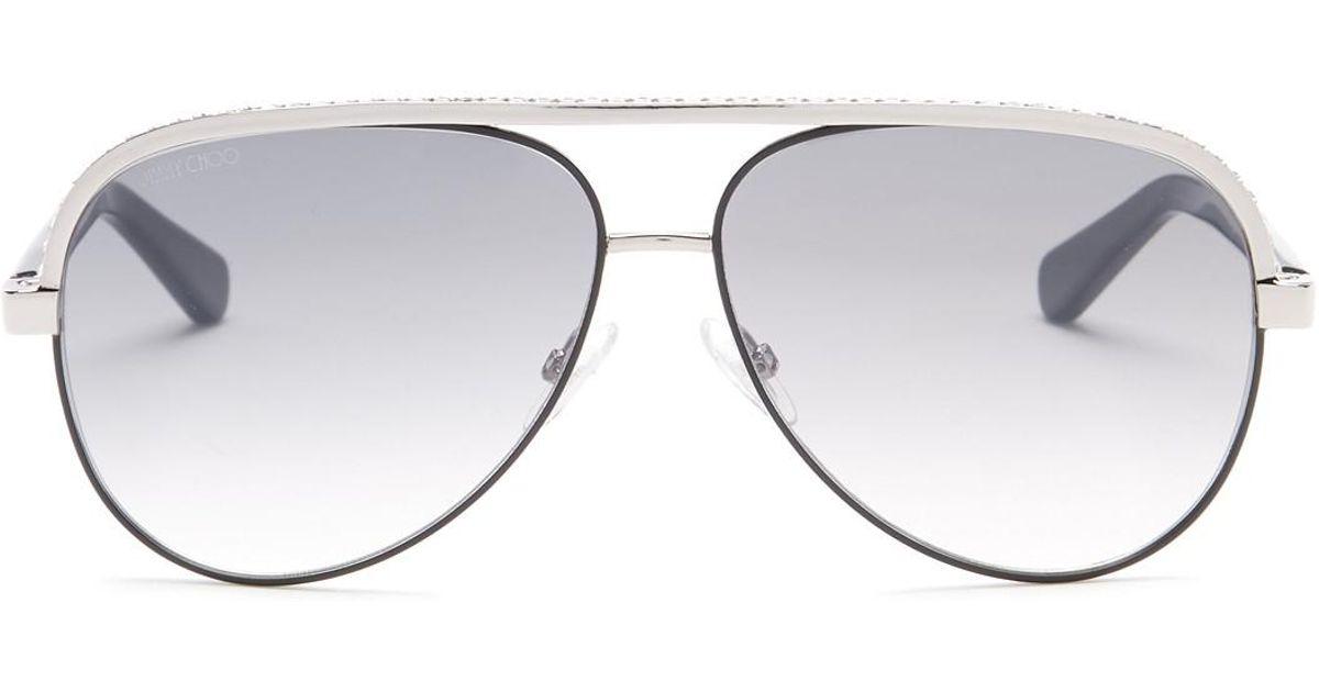 069e1d5b68ac Lyst - Jimmy Choo Linas 59mm Aviator Sunglasses in Metallic