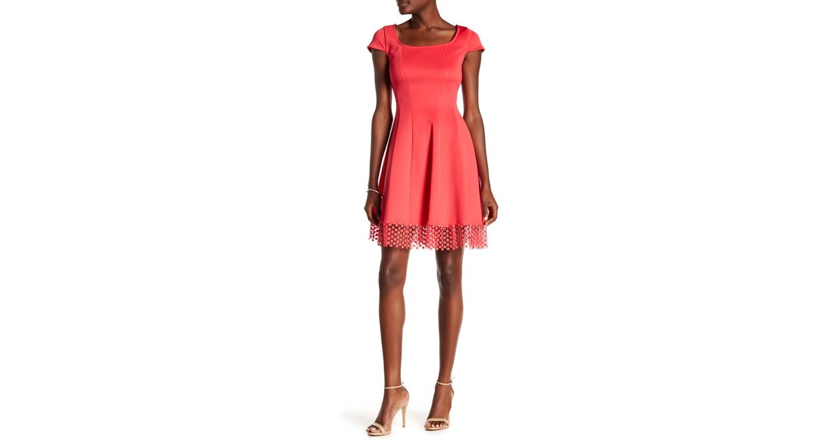 7a5939c85005 Lyst - Donna Ricco Dotted Crochet Hem Dress in Red