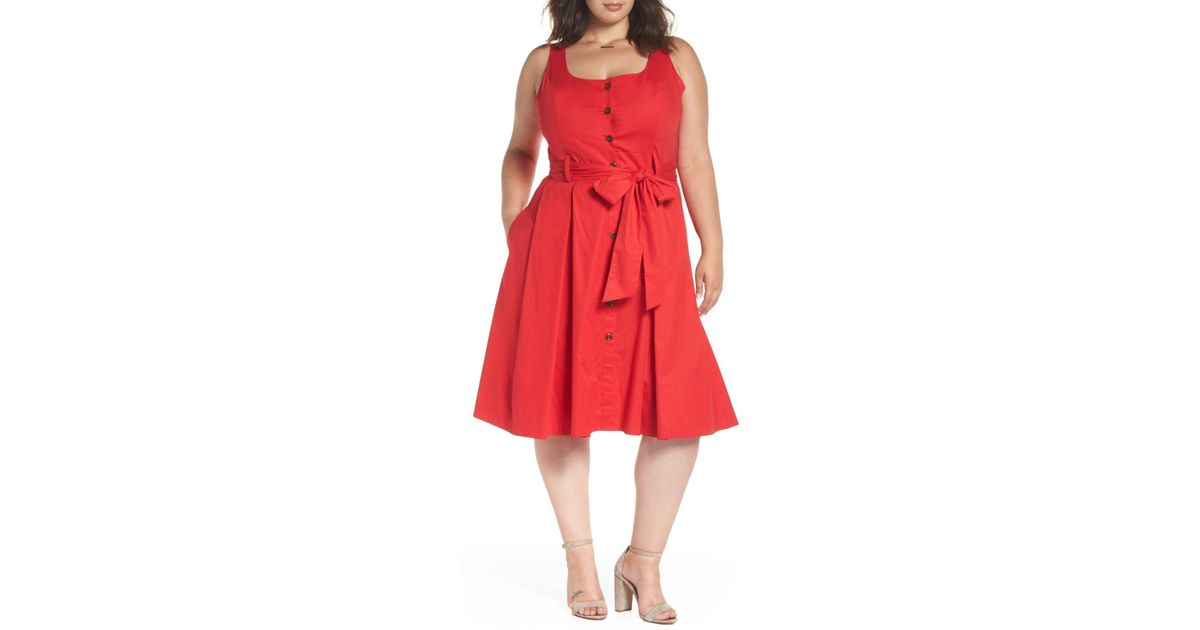 Lyst - 1901 Button Front Stretch Cotton Dress (plus Size) in Red
