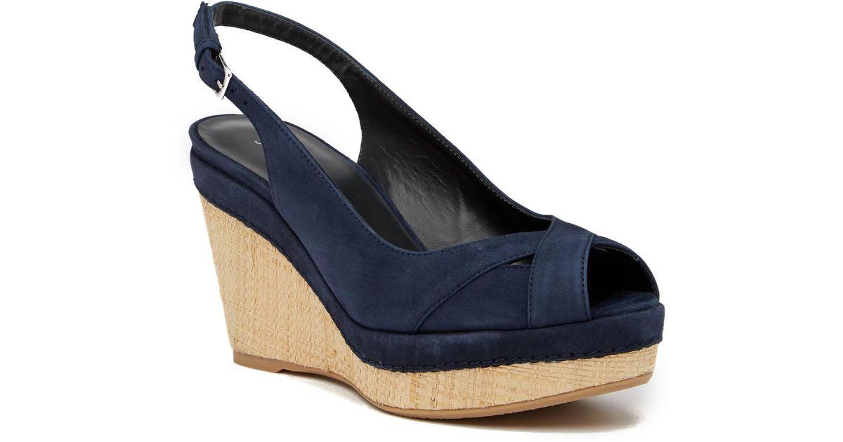 cf5faf2edaf Lyst - Stuart Weitzman Vent Peep Toe Wedge Slingback Sandal in Blue