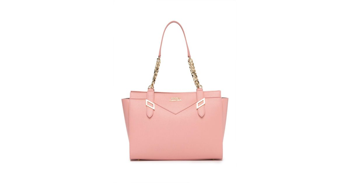 7483fee86df Versace Saffiano Leather Shoulder Bag in Pink - Lyst