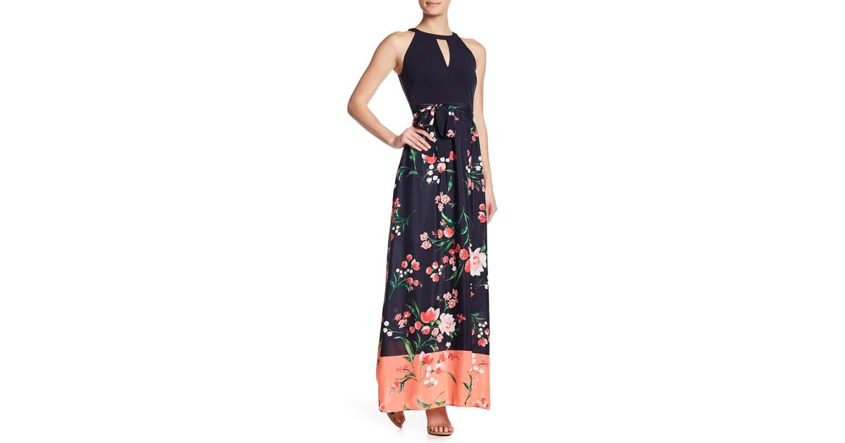 1bb47de5897 Vince Camuto Floral Keyhole Maxi Dress in Blue - Lyst