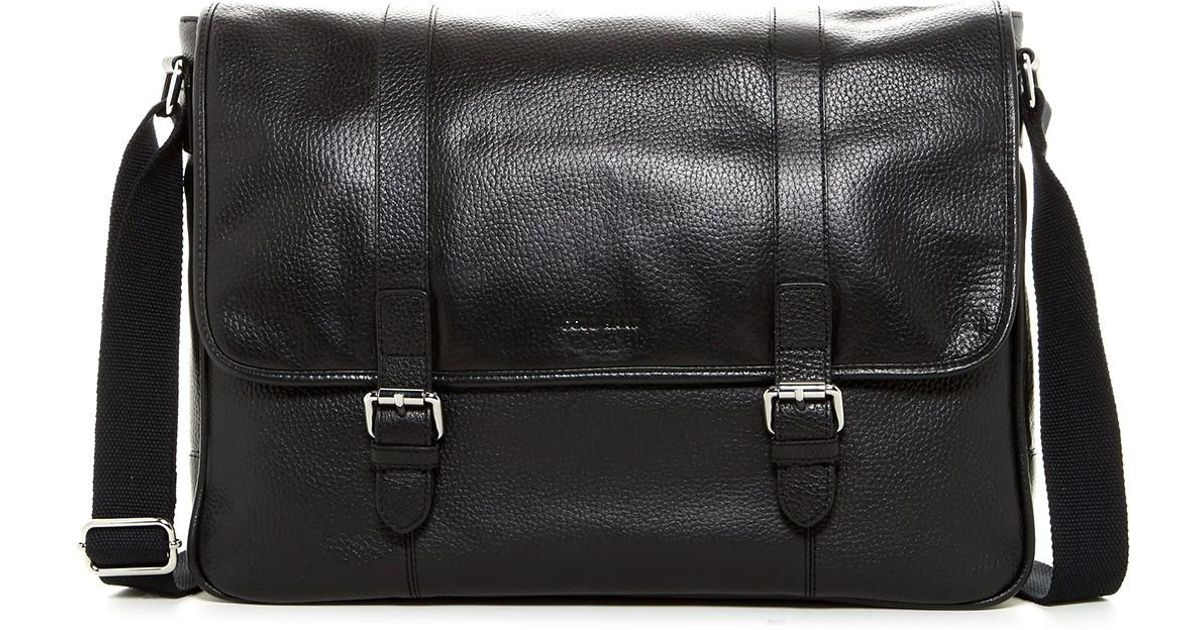Lyst - Cole Haan Leather Messenger in Black for Men 280555493e606