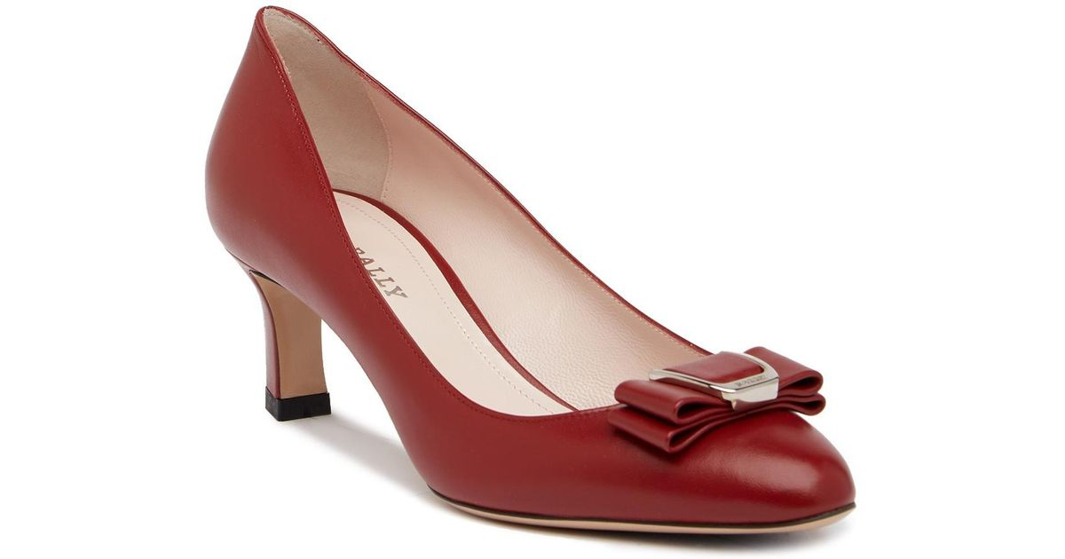 dc0081cc0a07 Lyst - Bally Bellyna Top Bow Pump in Red