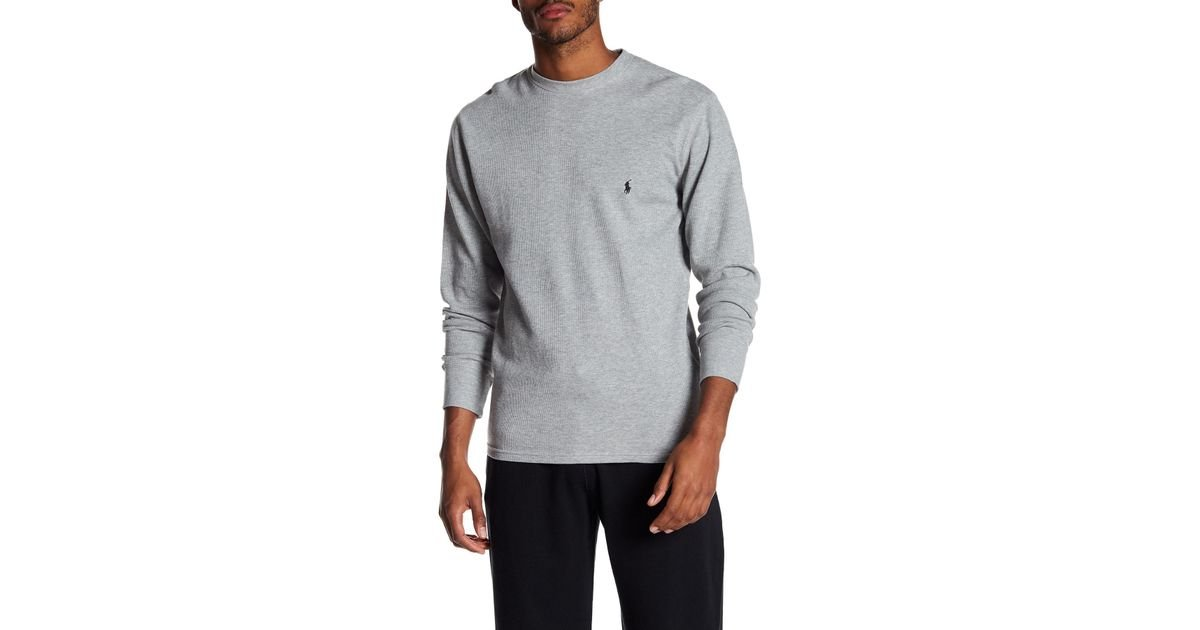 f8705224917dc Lyst - Polo Ralph Lauren Waffle Knit Long Sleeve Crew Neck Tee in Gray for  Men